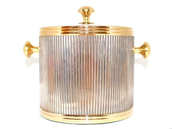 SALE Vintage Silver and Gold Ice Bucket