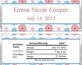 Personalized Candy Bar Wrappers - Birth Announcement - Whimsy Flowers BA017 (Set of 15)