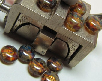 Czech Pressed Puffed Coin Beads - Amber with picasso finish (024)