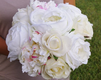 Bouquet of Silk Peonies and Roses Off White Natural Touch Flower Wedding Bride Bouquet - Almost Fresh