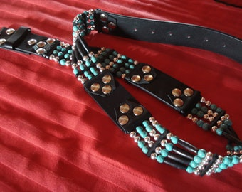 Belt - full grain leather belt with Bonepipes, turquoise and aluminum - Pearls