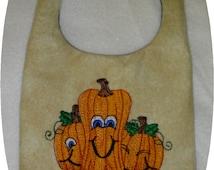 Instant Download In the Hoop Baby Pumpkin Bibs Embroidery Design