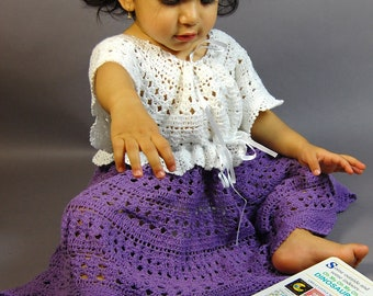 Hand Crocheted cotton yarn baby girl toddler one-piece dress (sizes  6-12mo 1T 2T 3T 4T )