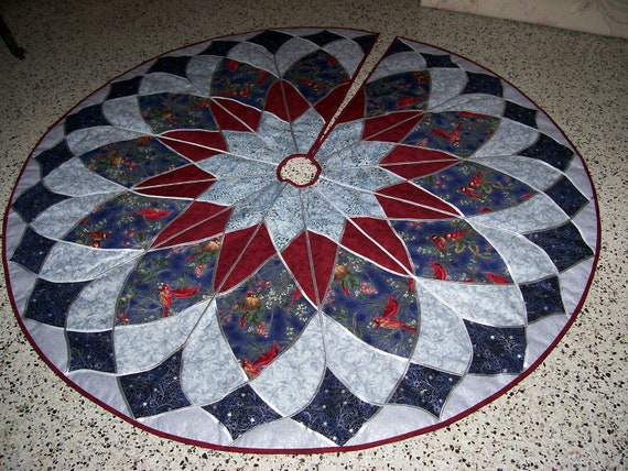 Stain Glass Christmas Tree Skirt Cranberry Blue Silver
