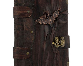 Flying Bat Cast On A Brown Leather Journal / Notebook / Diary / Sketchbook / Leatherbound
