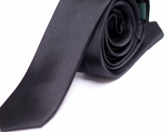 Skinny Black Tie - 2 inches