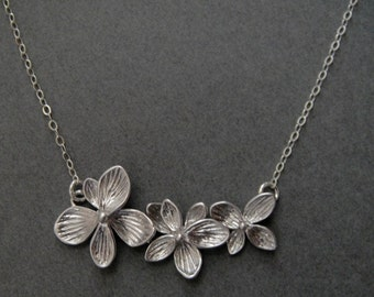 Triple Flower Necklace in STERLING SILVER CHAIN--Perfect Gift, gift for mom, gift for friends, Birthday Present for her.