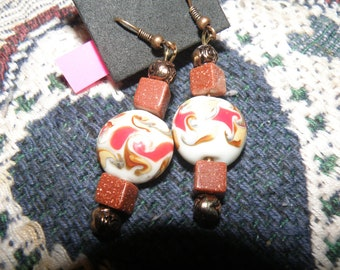 Sunstone and Round Glass Swirls Earrings