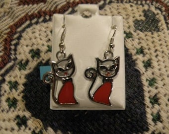 Red Cats 2 Earrings