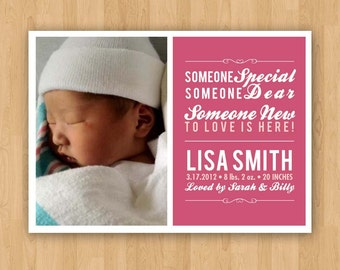 Customizable Photo Baby Announcement - with Photo