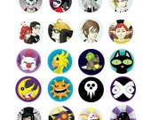 "1"" diameter Anime/Video Game Buttons"