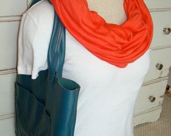 Free US Shipping Tangerine Orange Summer Jersey Knit Infinity Scarf Cowl