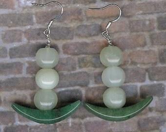 Earrings - Aventurine, New Jade, Sterling Silver