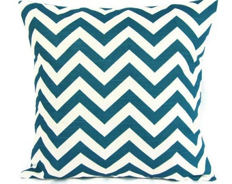 Sale Turquoise Chevron Pillow Cover Teal Blue White Decorative Throw Sofa Accent Toss Pillow Geometric 18x18