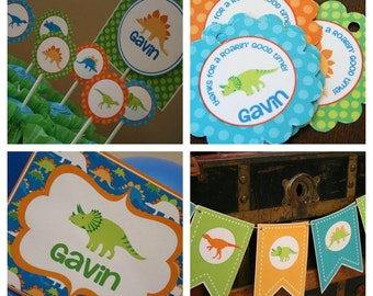 Dinosaur Birthday Party Package - Personalized and Assembled -