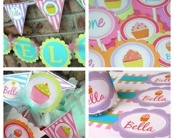 Cupcake Birthday Party Package - Personalized and Assembled - Bella Cupcake Theme