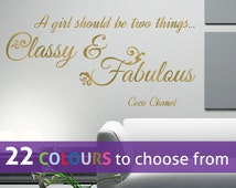 CLASSY and FABULOUS girl CC Coco Chanel fashion quote wall sticker decal art bedroom, lounge