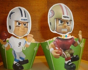 NFL Cupcake Toppers and Wrappers set of 12-Handmade