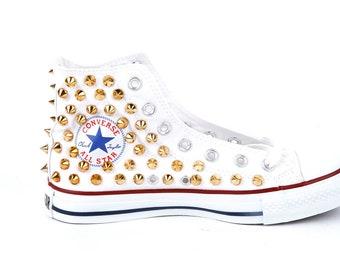 Original Converse AllStar Chuck Taylor high top studded  Converse stud gold spike