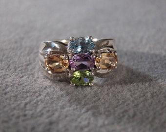 Vintage Sterling Silver Multi Oval Peridot Blue Topaz Golden Citrine Amethyst Bold Wide Domed Ribbed Design Art Deco Style Band Ring, Size 6