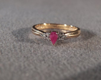 Vintage Sterling Silver Yellow gold Marquise Ruby 2 Round Diamond Fancy Band Ring, Size 8