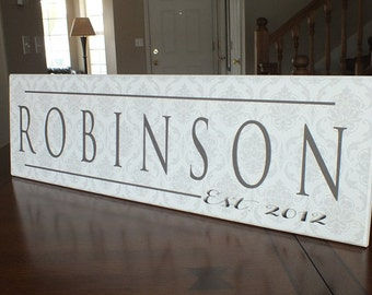 "Personalized Family Name Sign Established Sign Personalized Plaque 7""x24"""