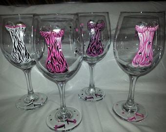 Zebra Print Wine Glasses with Boobs