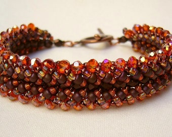 Glitter bracelet bronze red orange spiral technology