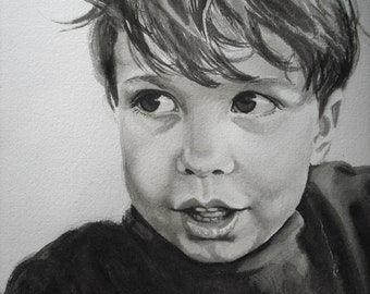 Custom watercolor portrait, single subject , black and white