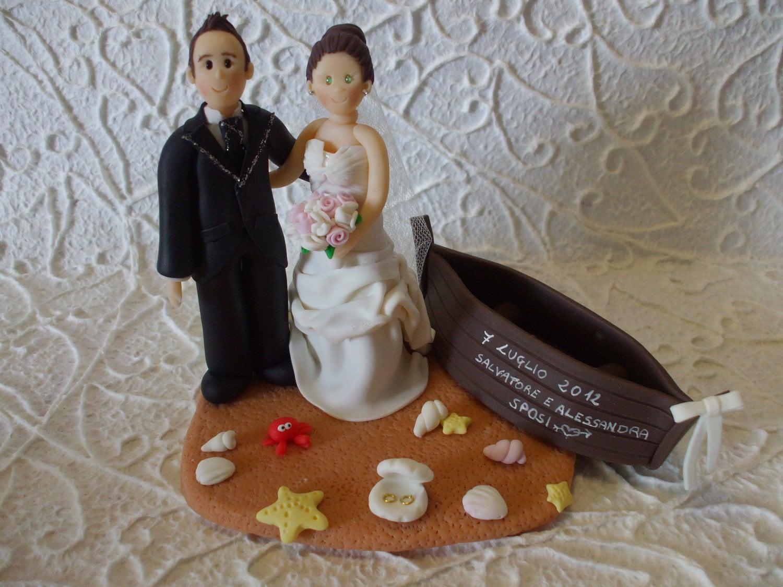 custom sea beach wedding cake topper by Abracadabrakr on Etsy