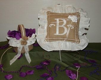 Beautiful Burlap Ring Bearers Pillow and Flower Girl Basket.