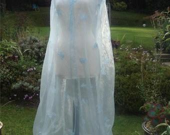 Renassiance blue butterfly medieval  fey wedding Pagan handfasting cloak