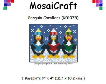 MosaiCraft Pixel Craft Mosaic Art Kit 'Penguin Carollers' (Like Mini Mosaic and Paint by Numbers)