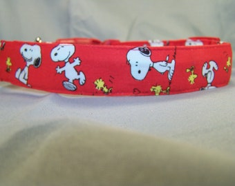 Licensed Fabric Snoopy on Red Dog Collar