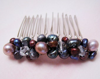 Pearl and Crystal Hair Comb in Purple