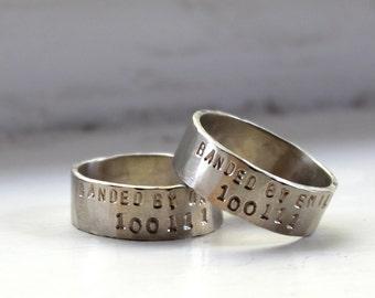 14k white gold duck band ring set
