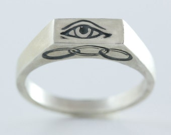 Hand Carved Odd Fellows Sterling Silver Ring / All Seeing Eye Ring / Three Rings of Friendship, Love and Truth / Petite Signet Ring