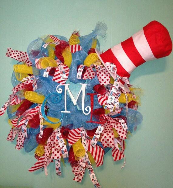 Items Similar To Custom Made Dr Seuss Wreath On Etsy