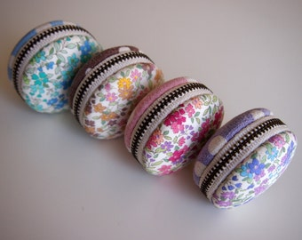 5cm,  Macaron Jewelry Pouch/ Macaroon/ Coin Purse - Colorful Flower, Blue/Brown/Pink/Purple - Handmade in Japan by Chikaberry