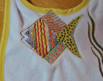 Homemade Embroidered Little Fishy Bib