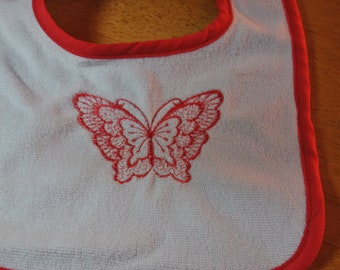 Homemade Embroidered Butterfly Bib