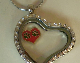 CZ Curved Heart Necklace w/ Snake Chain  Memory Glass Locket for floating charms
