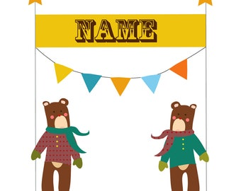 Personalized  Childrens Wall Art.Print for children's Playroom,Room or Nursery.