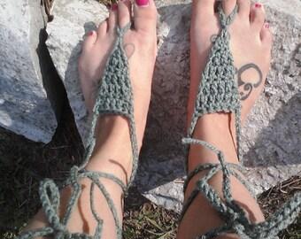 Green Barefoot Sandals