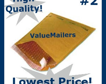 100 2 Kraft Bubble Lite Bubble Mailers 8.5x12