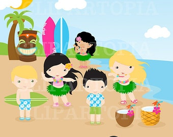 Luau Clipart / Hawaii Clipart / Hula Girl ClipArt / Aloha Clipart/ Tiki Clipart / Digital Clipart Personal  and Commercial  Use