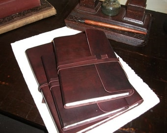 Italian handmade leather journal - Amalfi paper, medieval , soft binding