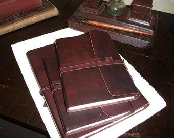 Italian handmade leather journal - Amalfi paper, medieval , soft binding
