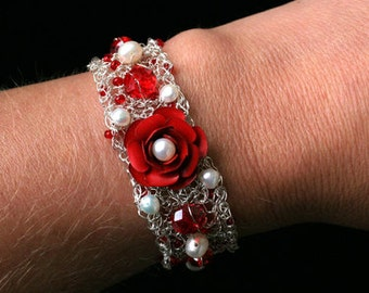 Bracelet rose red Freshwater Pearl silver white approx. 2 cm adjustable wire / 17.5 cm long flower wedding cream glass beads