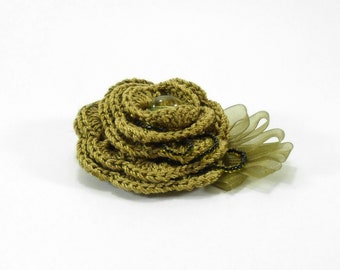Crochet Flower Brooch - Mustard Green